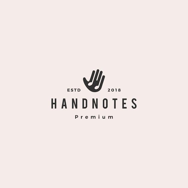 Mão, música, notas, logotipo, vetorial, ícone, ilustração Vetor Premium
