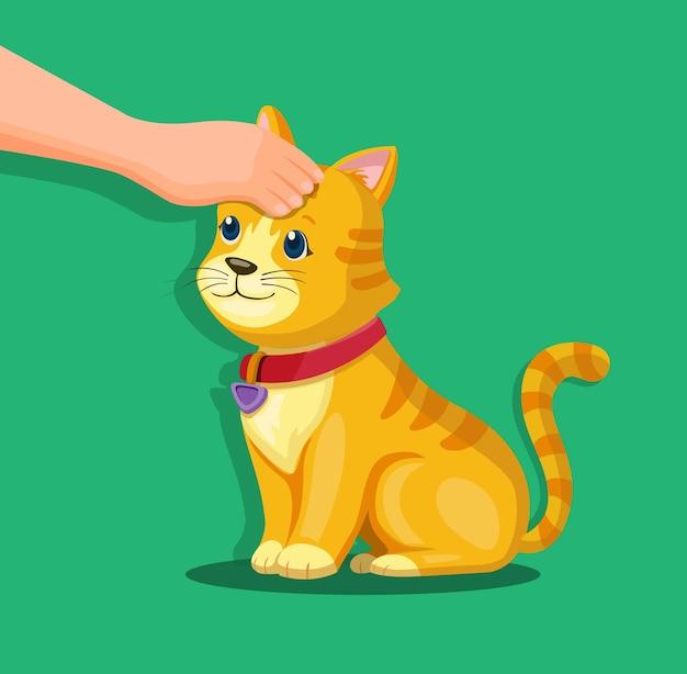 Mão na cabeça do gatinho. conceito de símbolo de amor e cuidados com animais de estimação na ilustração dos desenhos animados Vetor Premium