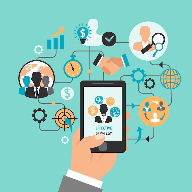 Mão negócio, com, smartphone Vetor grátis