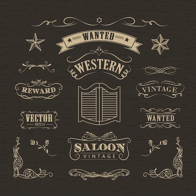 Mão ocidental desenhada banners vintage distintivo vector Vetor Premium