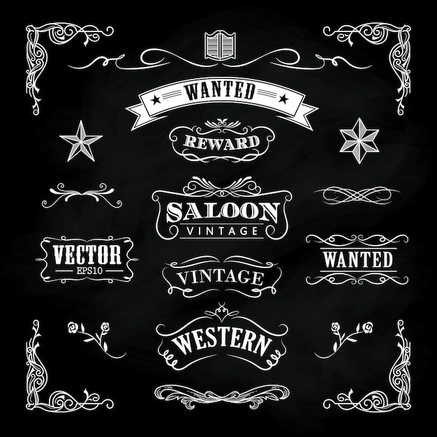 Mão ocidental desenhada lousa banners vetor distintivo vintage Vetor Premium