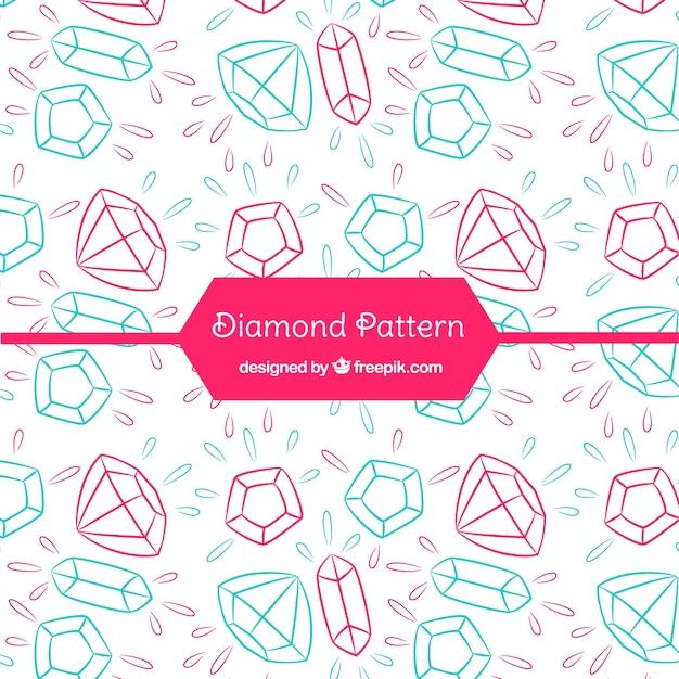 Mão padrão de diamante desenhado Vetor grátis