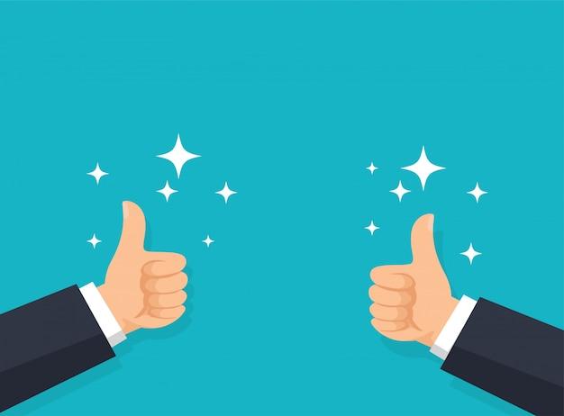 Mão para cima. a mão de um homem de negócios com um ótimo polegar para cima. Vetor Premium