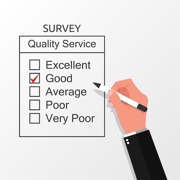 Mão preenchendo o conceito de formulário de pesquisa Vetor Premium
