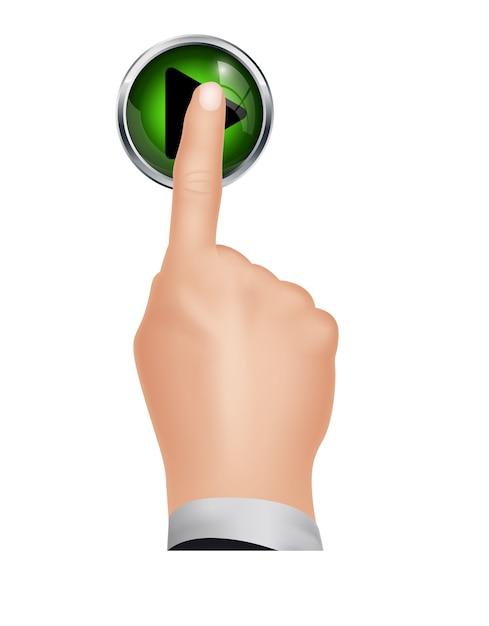 Mão pressione o botão play de fundo isolado Vetor Premium