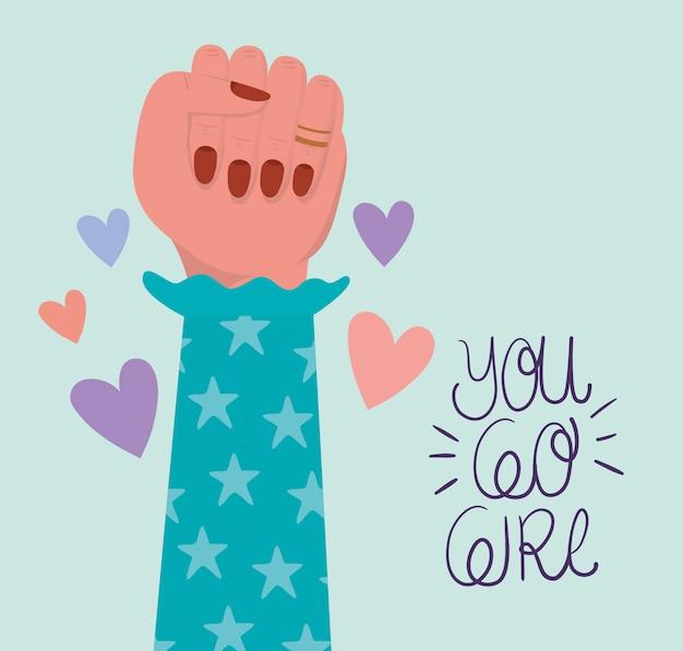 Mão punho e você vai menina de empoderamento das mulheres. ilustração do conceito feminista de poder feminino Vetor Premium