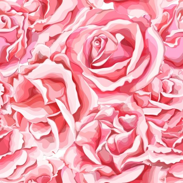 Mão realista desenhada rosa flor flor padrão sem emenda. Vetor Premium