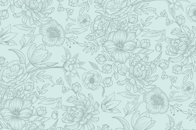 Mão realista desenhado fundo floral Vetor grátis