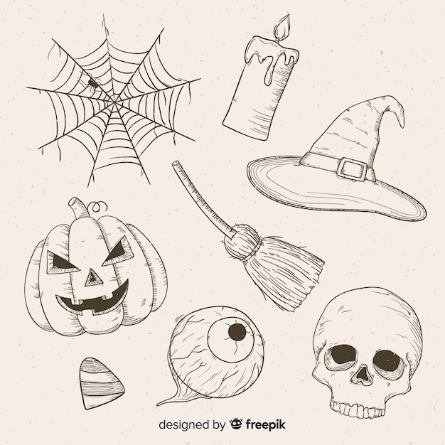 Mão realista extraídas coleção de halloween Vetor grátis