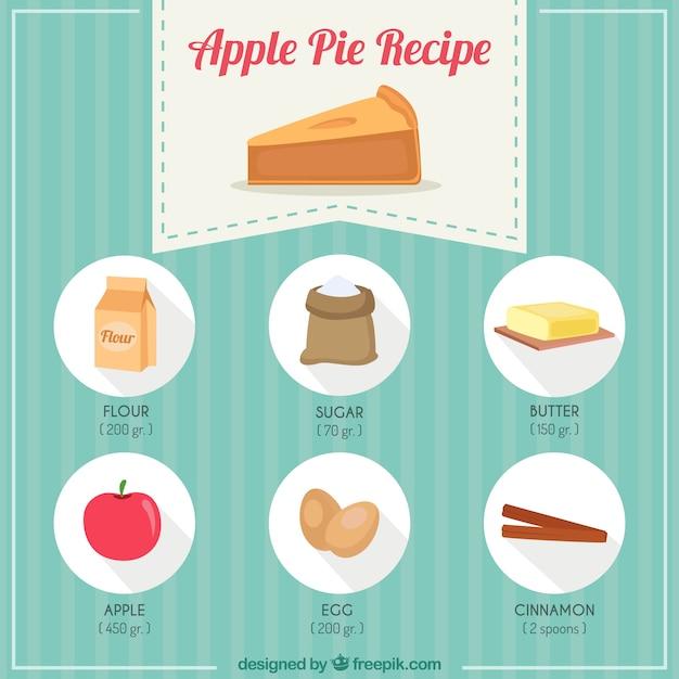 Mão receita de torta de maçã desenhada Vetor grátis