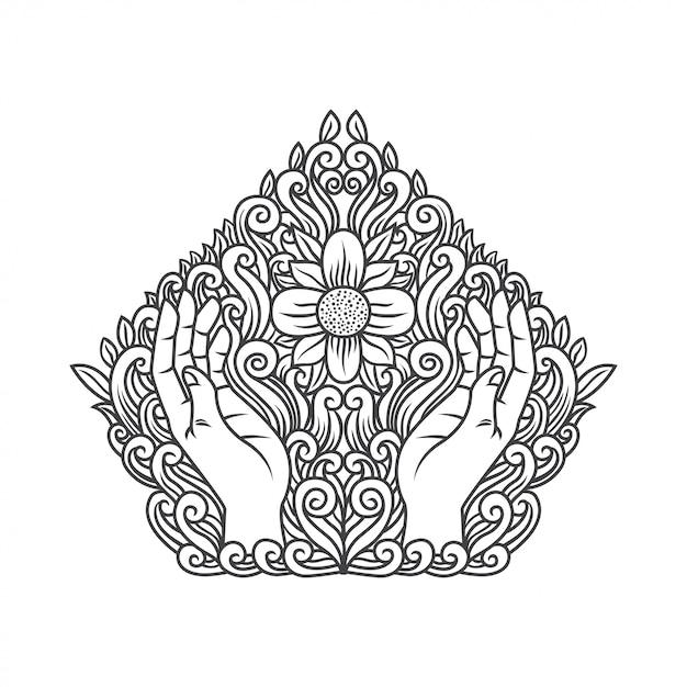 Mão rezando com flor Vetor Premium