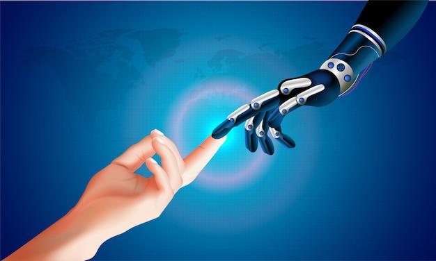 Mão robótica e mão humana conectando em um espaço virtual. Vetor Premium