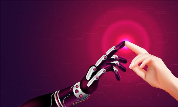 Mão robótica e mão humana conectando. Vetor Premium