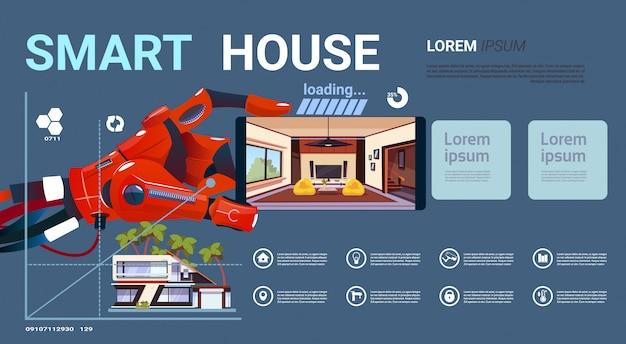 Mão robótico que guarda o smartphone com relação de controle esperta da casa, tecnologia moderna do conceito da domótica Vetor Premium