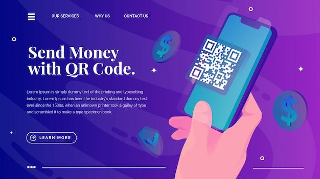 Mão segura a página da web de código qr de digitalização de telefone Vetor Premium