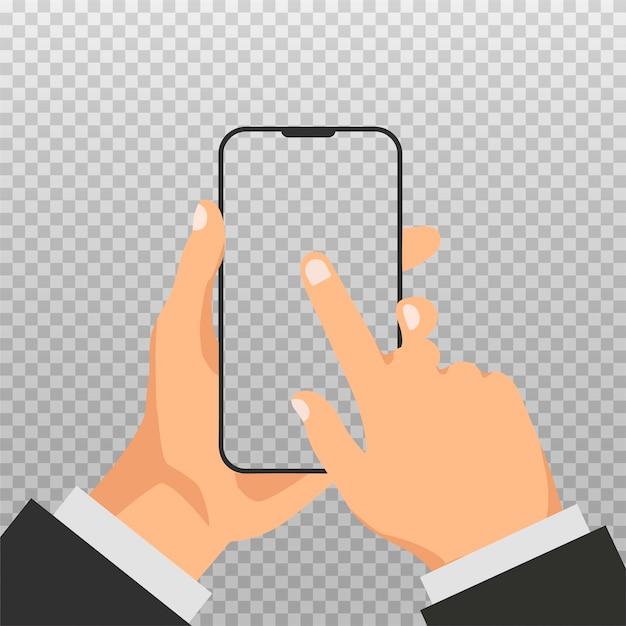 Mão segura o telefone com tela branca vazia. modelo ou simulação de smartphone com tela em branco. homem clique na tela do smartphone isolada em fundo transparente. tecnologia inteligente. Vetor Premium