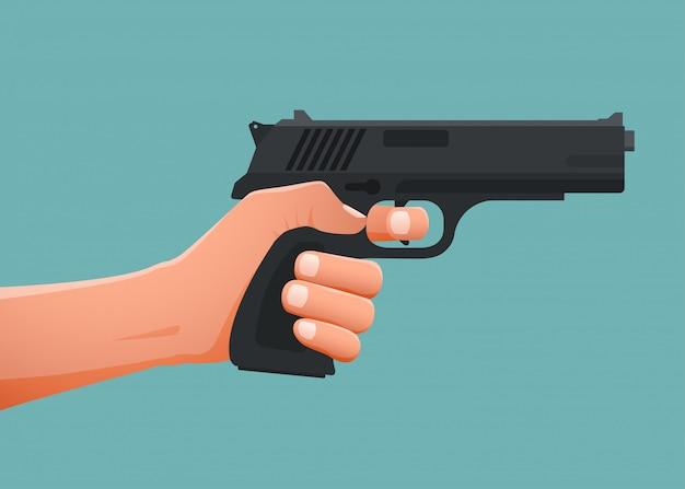 Mão segurando a arma shoting. Vetor Premium