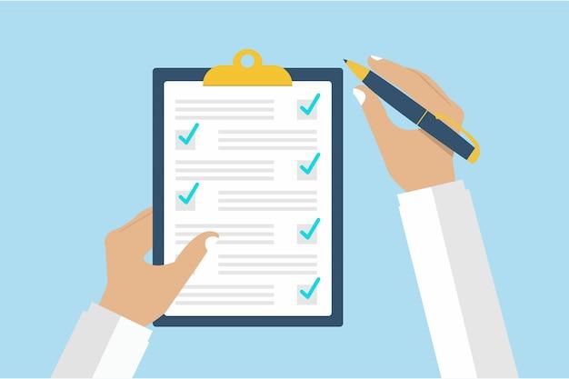 Mão segurando a caneta e o documento Vetor Premium