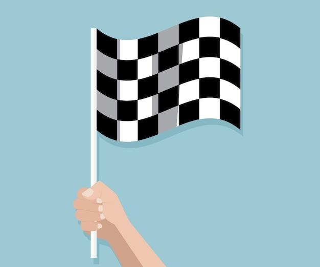 Mão segurando a corrida quadriculada terminar ilustração em vetor bandeira Vetor Premium