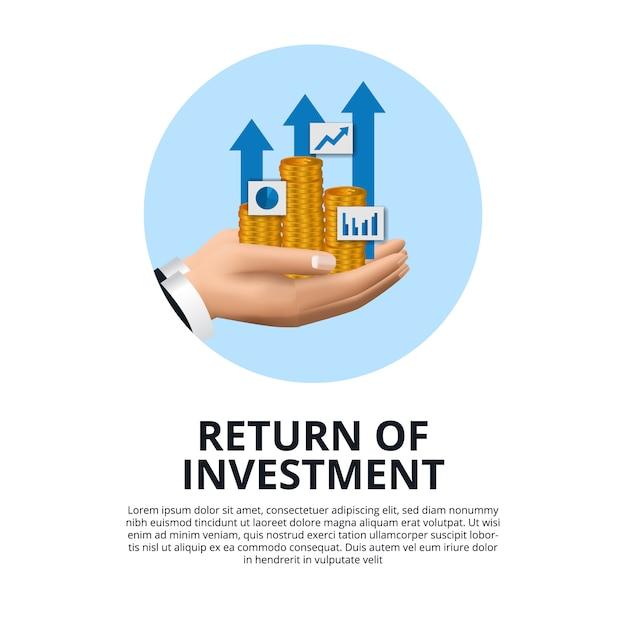 Mão segurando a moeda de ouro, gráfico, seta crescimento retorno do investimento roi Vetor Premium