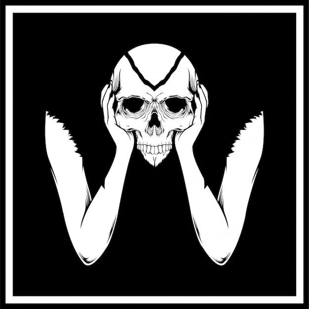 Mão, segurando, cranio, cabeça Vetor Premium