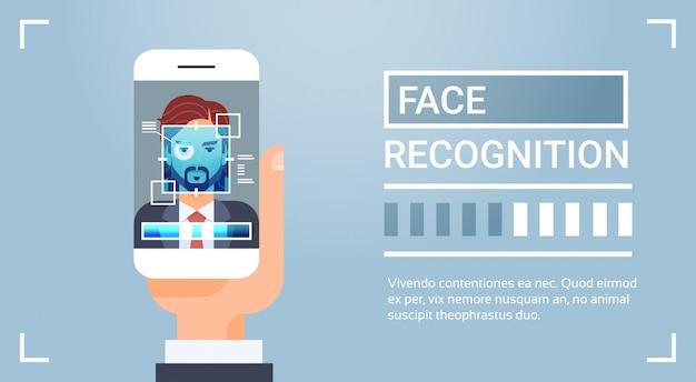 Mão, segurando, esperto, telefone, varrendo, macho, íris, rosto, reconhecimento, tecnologia, bandeira, biometric, identificação Vetor Premium