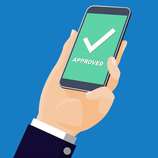 Mão segurando móvel com texto Vetor Premium