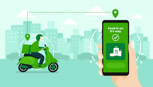 Mão segurando o aplicativo móvel, rastreando um entregador em um ciclomotor Vetor Premium