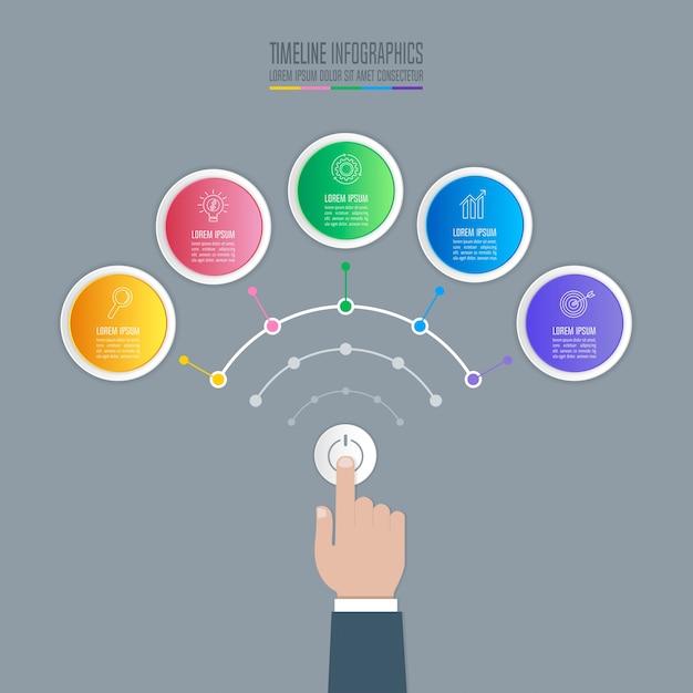 Mão segurando o botão de inicialização com as opções de infografia de linha de tempo 5. Vetor Premium