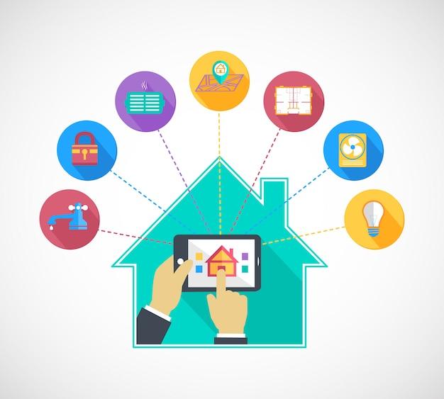 Mão segurando o celular controla casa inteligente Vetor Premium