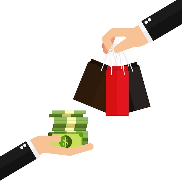 Mão segurando o dinheiro e mão segurando o saco de papel Vetor Premium