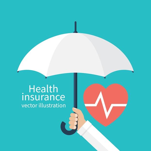 Mão segurando o guarda-chuva sobre o coração Vetor Premium
