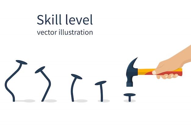 Mão segurando o martelo com pregos Vetor Premium
