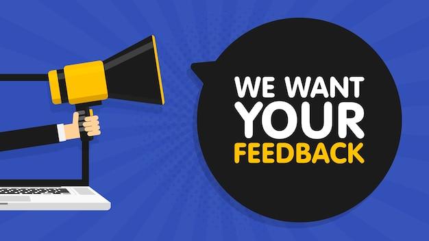 Mão segurando o megafone. fundo da tela do laptop laptop. queremos seu feedback no balão de fala. ilustração. Vetor Premium