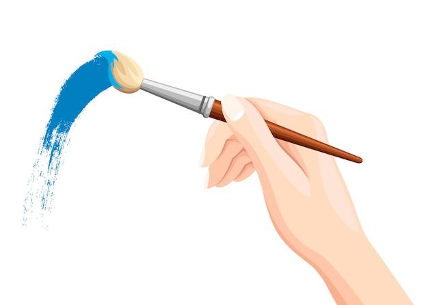 Mão segurando o pincel. pintura a pincel em branco. tinta azul. ilustração plana isolada no fundo branco. Vetor Premium