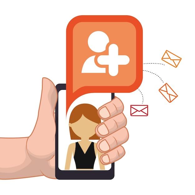 Mão segurando o smartphone adicionar pessoa amigo e-mail de contato Vetor Premium