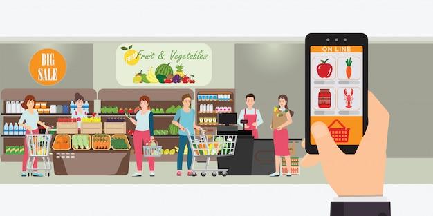 Mão segurando o smartphone com app de compras. Vetor Premium
