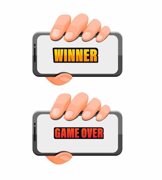 Mão segurando o smartphone com jogo sobre texto para o conceito de aplicativo de jogo em vetor Vetor Premium