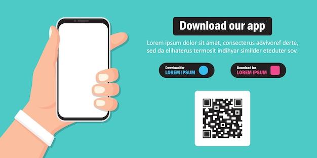 Mão segurando o smartphone para baixar o aplicativo em um design plano Vetor Premium