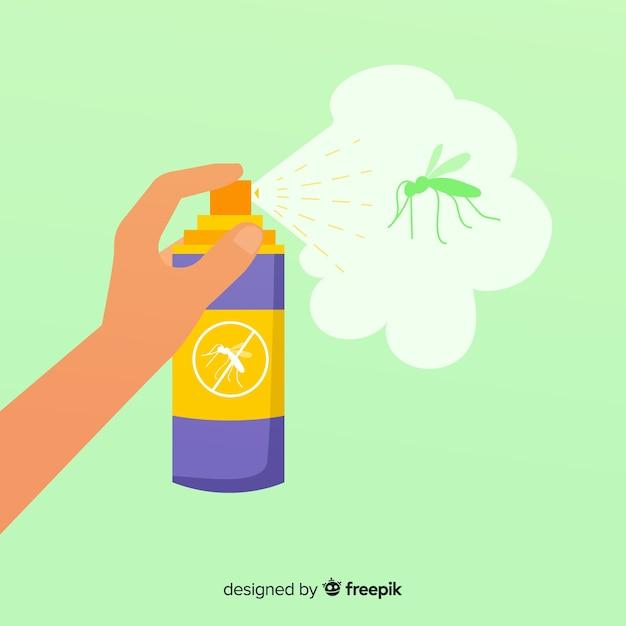 Mão segurando o spray de mosquito em design plano Vetor grátis