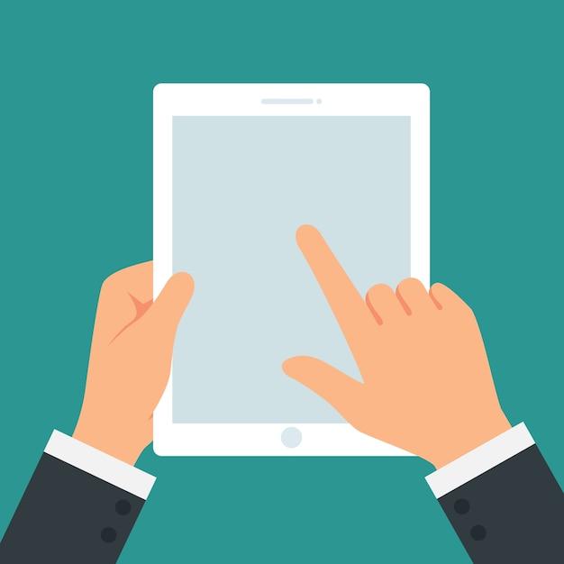 Mão segurando o tablet de tela de toque no vetor de fundo branco Vetor Premium
