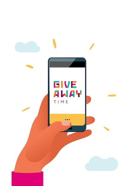 Mão segurando o telefone com um tipo de doação em uma tela. Vetor Premium