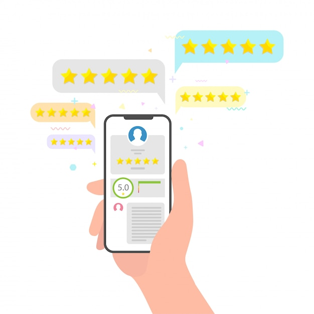 Mão segurando o telefone e estrelas classificação avaliação feedback. conceito de revisão de cinco estrelas perfeito. avaliação de classificação sobre o conceito de mídia social do telefone móvel da opinião do usuário Vetor Premium