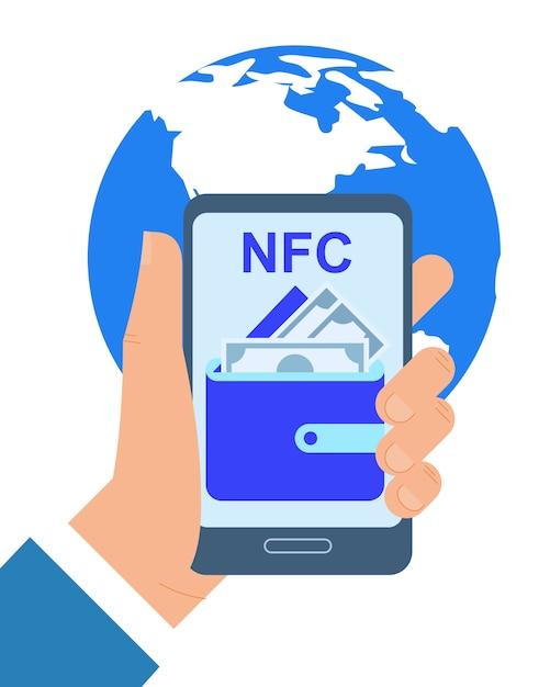 Mão segurando o telefone móvel nfc pagamento app ilustração vetorial Vetor Premium