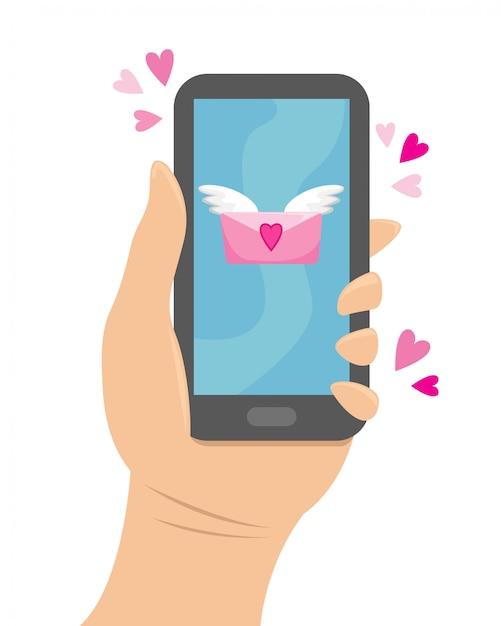 Mão segurando o telefone para o qual veio uma mensagem de amor. Vetor Premium