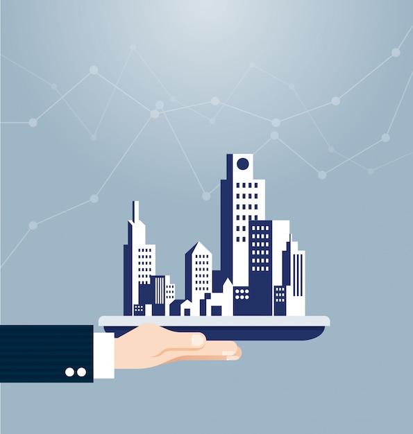 Mão, segurando, predios, bens imóveis, conceito Vetor Premium