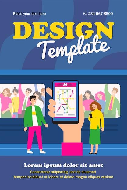 Mão segurando smartphone com modelo de mapa de metrô Vetor Premium