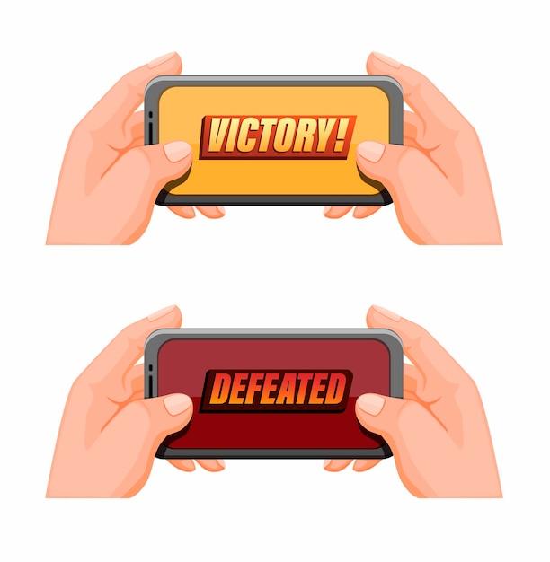Mão segurando smartphone com texto de vitória, esportes de jogos móveis em vetor de ilustração de desenho animado Vetor Premium