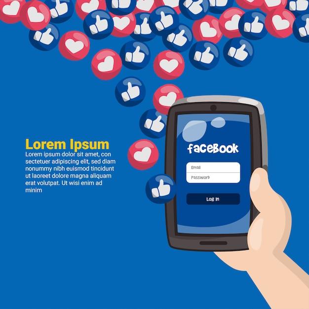 Mão, segurando, telefone móvel, com, facebook, emoticons Vetor Premium