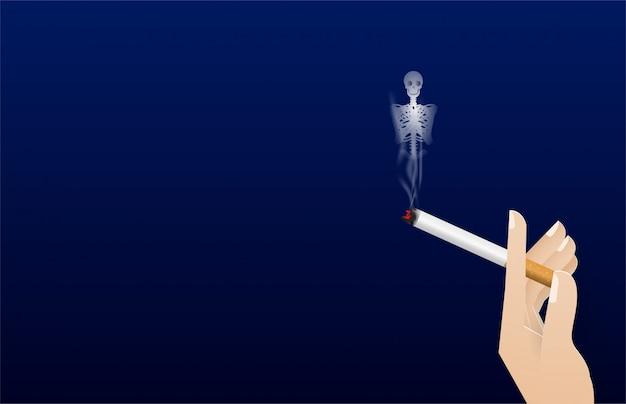 Mão segurando um cigarro. fumaça para vector osso ilustração do conceito não fumar mundo dia. nenhum dia de tabaco Vetor Premium